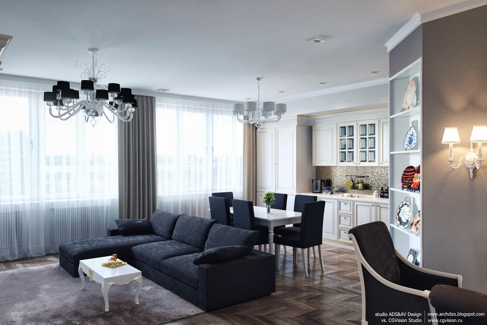 Дизайн интерьера студии 40 кв.м