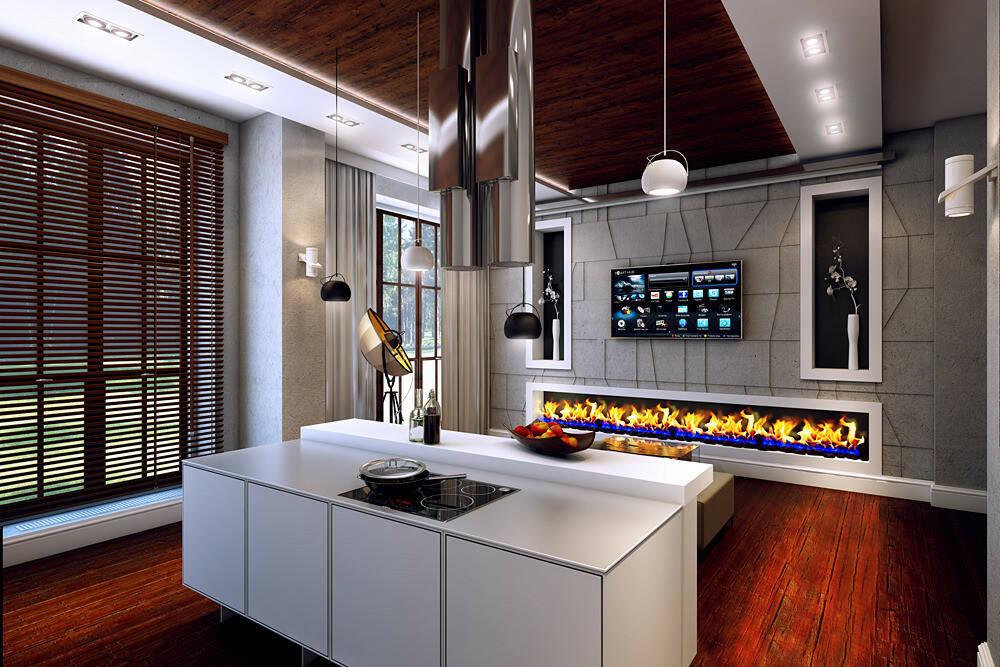 Интерьер кухни с камином 1 36 Строительный портал
