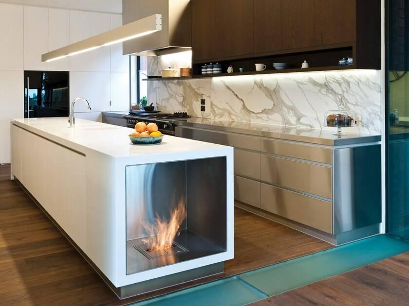 Интерьер кухни с камином 4 29 Строительный портал
