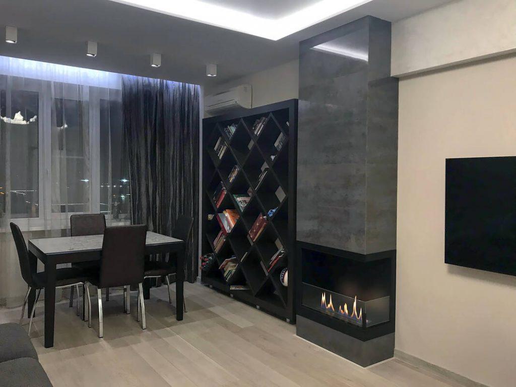 Интерьер кухни с камином 5 27 Строительный портал